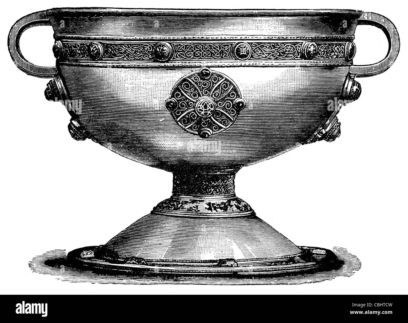 Ardagh Hoard Chalice hoard metalwork National Museum Ireland Dublin Insular art silver cup decorated gold gilt bronze - Stock Image