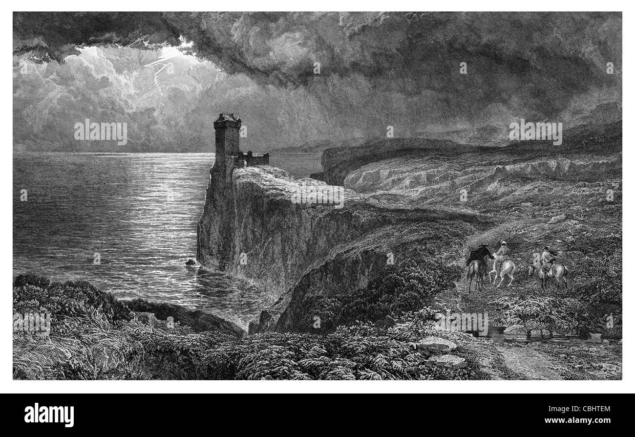 Bride of Lammermoor Wolf's Crag Scotland ruin ruins ruined castle church watch tower thunder lightning bolt - Stock Image