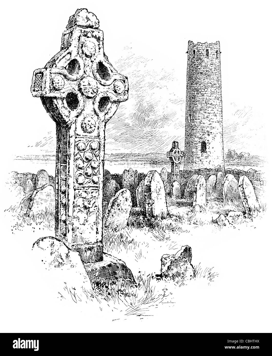 monastery Clonmacnoise O'Rourkes' Tower North cross Cernunnos Celtic God cemetery tomb stone grave crypt - Stock Image