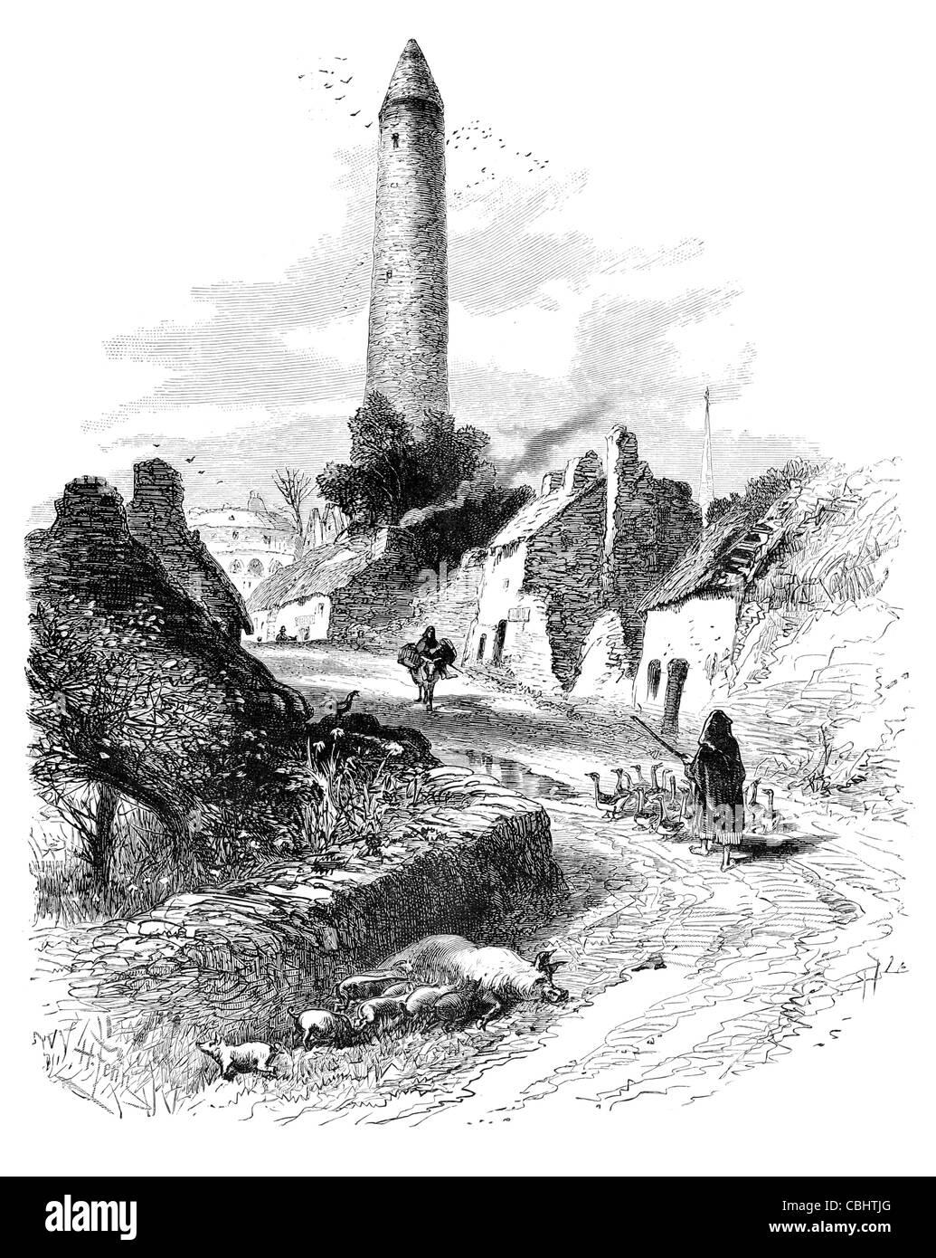 Killala County Mayo west Ireland round tower flock geese road Eire Irish street hill house cottage rural stone countryside - Stock Image