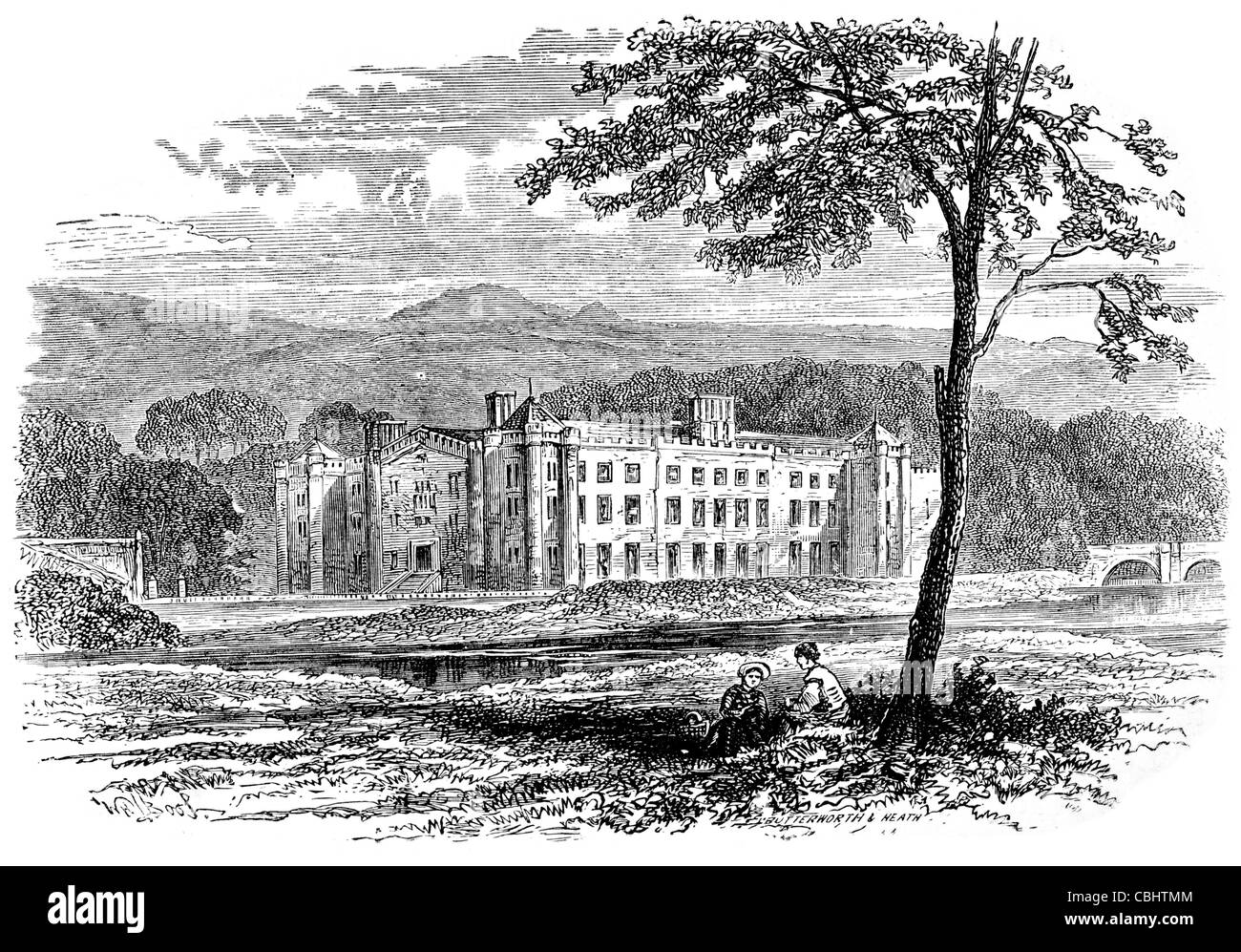 Antrim Castle Massereene Ireland 1861 Sir John Clotworthy fort palace mansion manor architecture tourist attraction - Stock Image