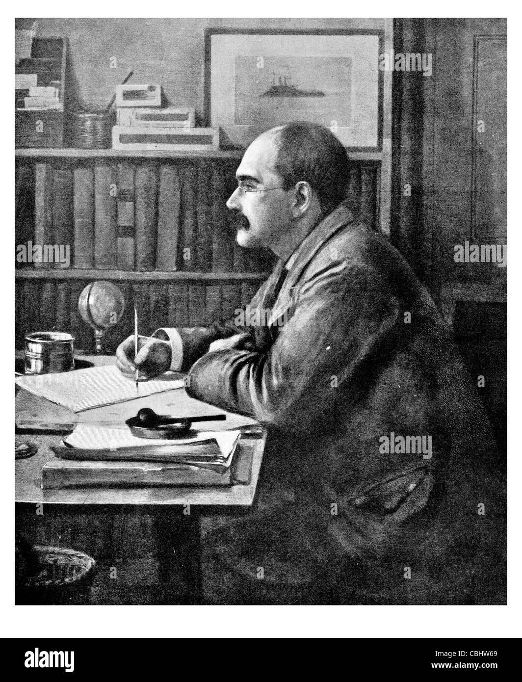 Joseph Rudyard Kipling 1865 1936 English poet short story writer Nobel Prize Literature The Jungle Book author Stock Photo