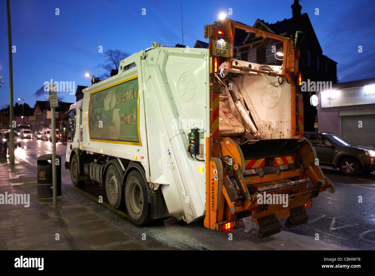 early morning bin refuse collection in north london england united kingdom uk - Stock Image