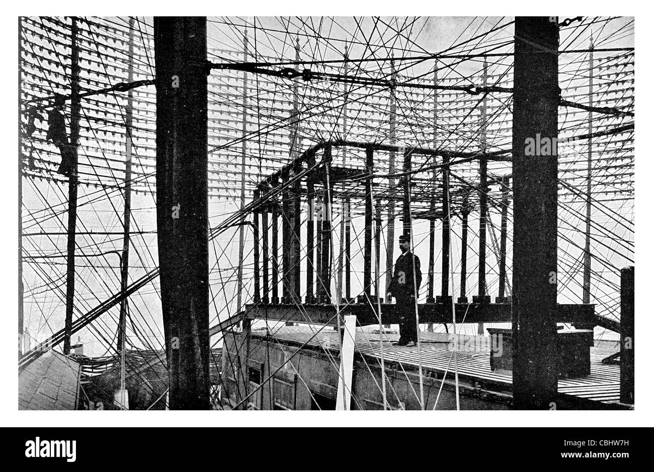 Telephone Exchange Lime Street Maze Wires Roof Engineer telecommunications communication office wire line phone - Stock Image