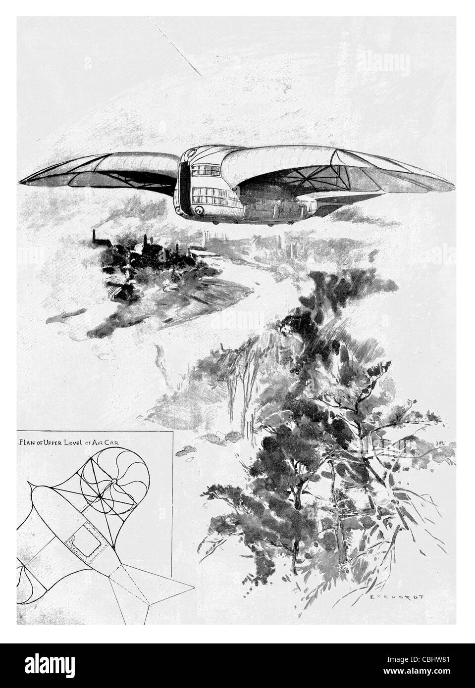 Flying Machine Designed by Mr G.L.O. Davidson aircraft air flight plane Aeroplane  airplane fixed wing invention - Stock Image