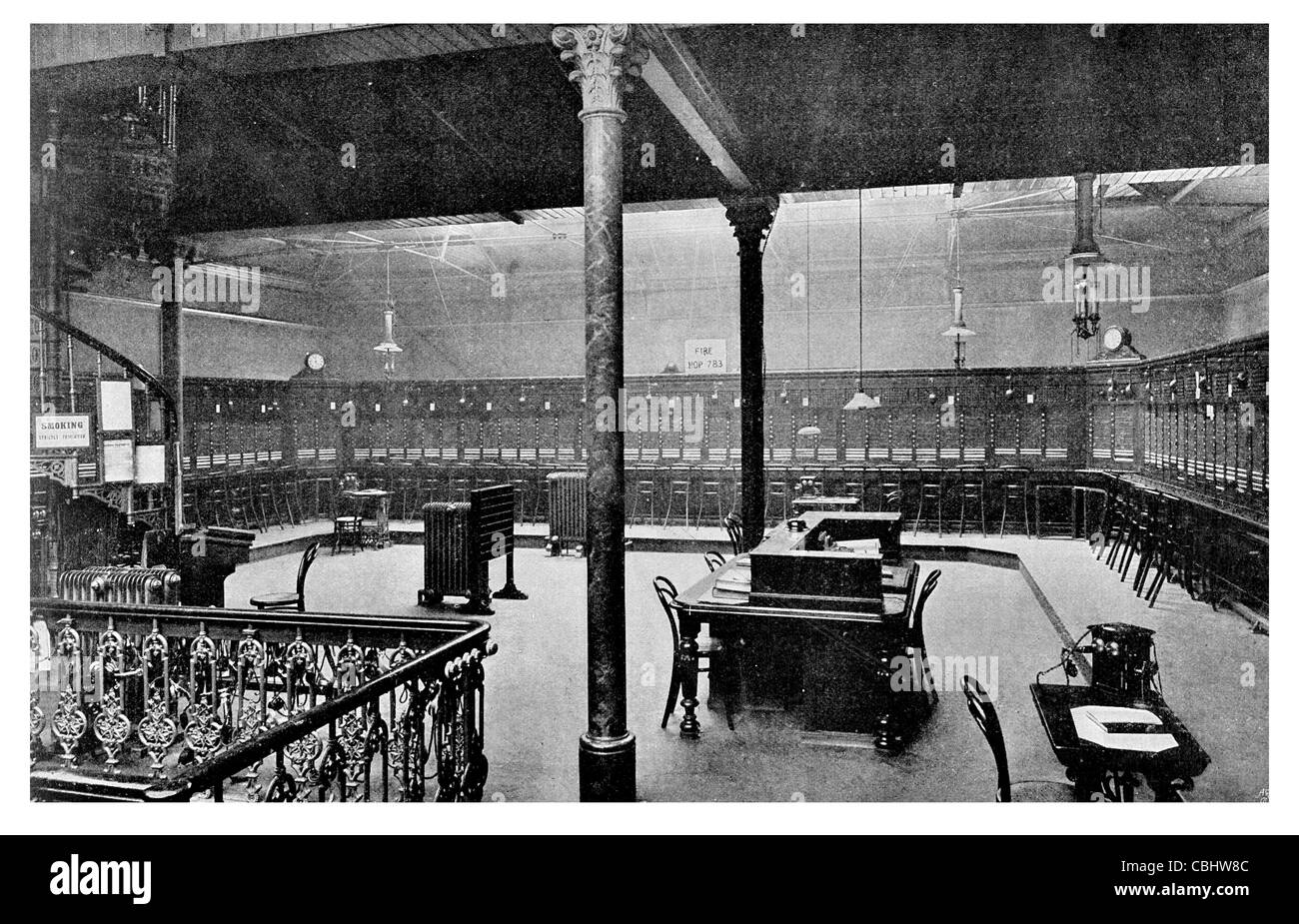 Telephone Exchange Lime Street Engineer telecommunications communication office wire line phone call calling - Stock Image