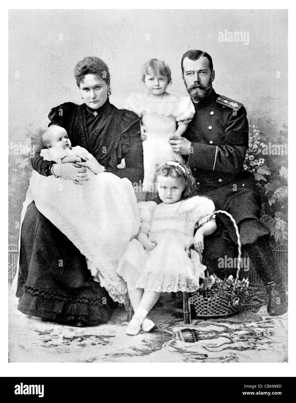 Russian Czar Royal family Nicholas II Emperor Russia Grand Prince Finland Alexandra king regal imperial sovereign - Stock Image