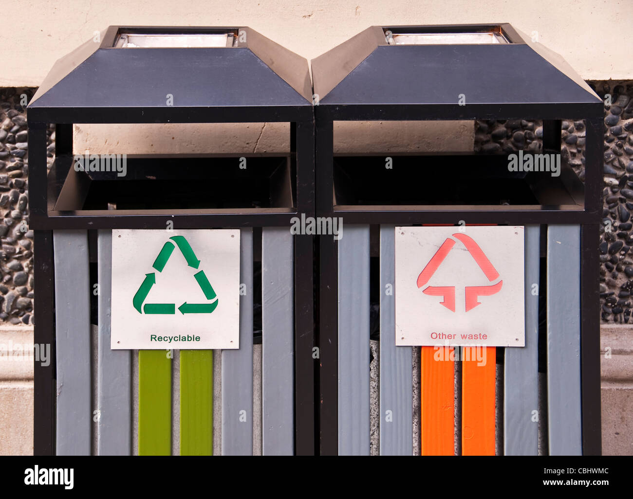 Two public garbage boxes - recyclable, other waste - Stock Image