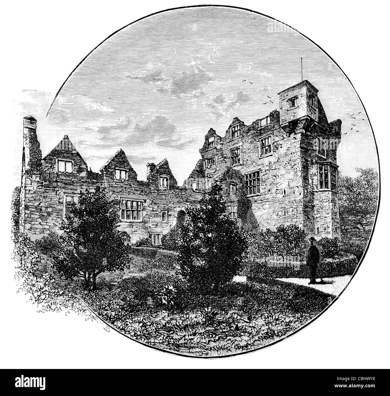 Donegal Castle Ireland For ruined ruin ruins keep Jacobean style stronghold O'Donnell clan Gaelic family mansion - Stock Image