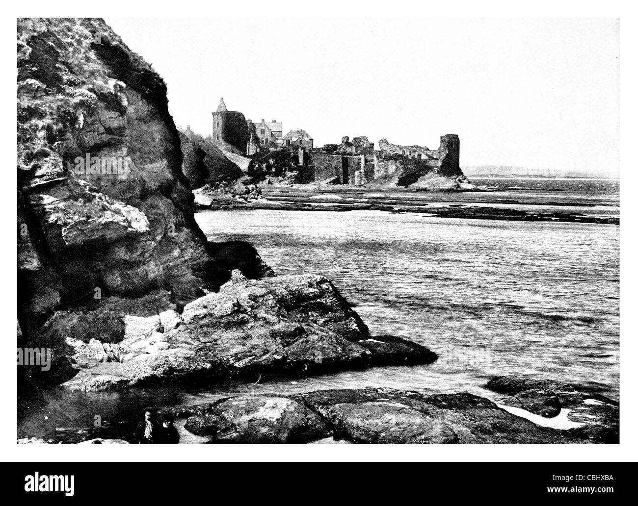 St Andrew's Castle ruin Royal Burgh Fife beach Castle Sands Historic Scotland ruins ruined fort - Stock Image