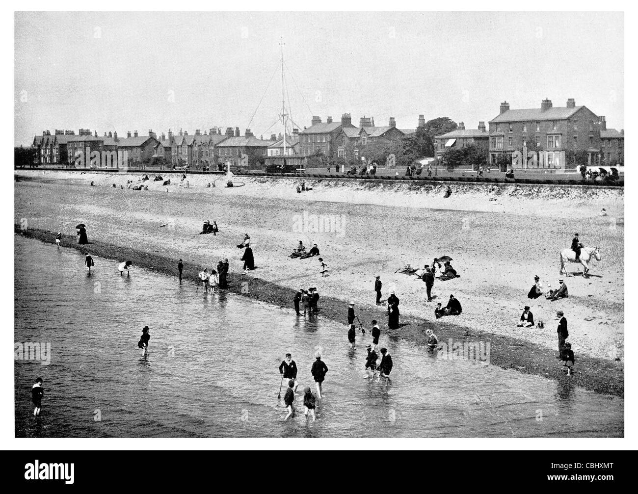 Lytham St Annes Lancashire England seaside resort promenade esplanade beach front bathing paddling swimming - Stock Image