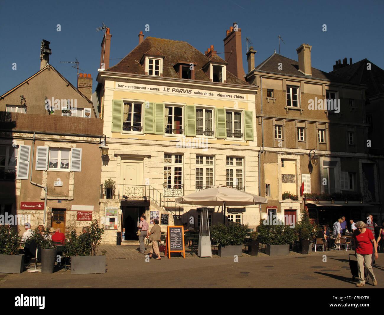 Restaurant Le Parvis near Notre-Dame de Chartres cathedral,Chartres,Eure-et-Loire, France Stock Photo