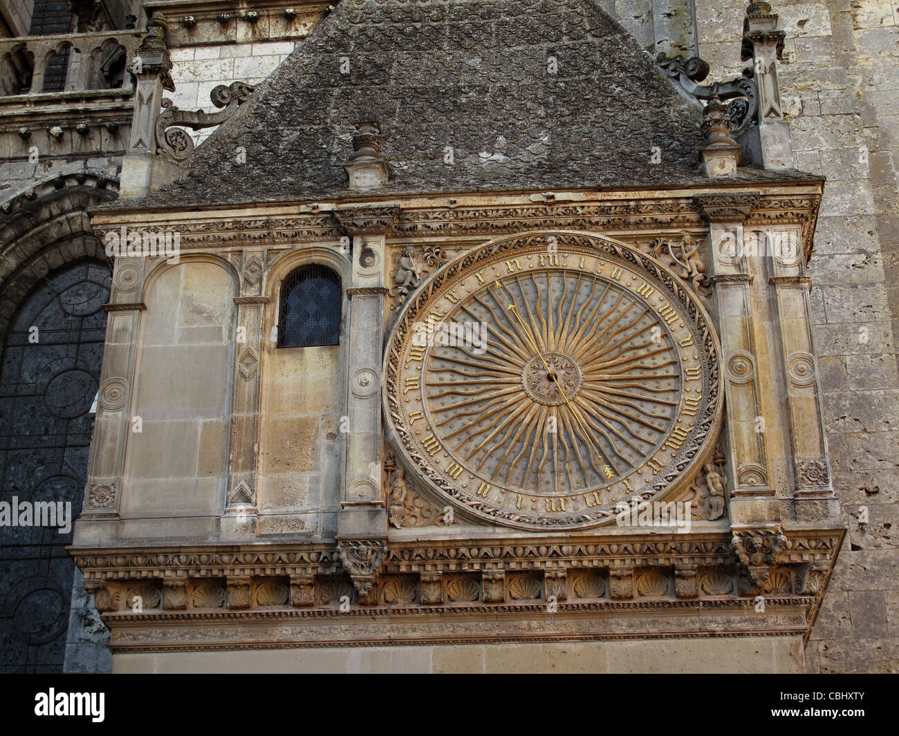 The big clock of Notre-Dame de Chartres cathedral,Chartres,Eure-et-Loire,France,Way of St James to Santiago de Compostela,UNESCO - Stock Image