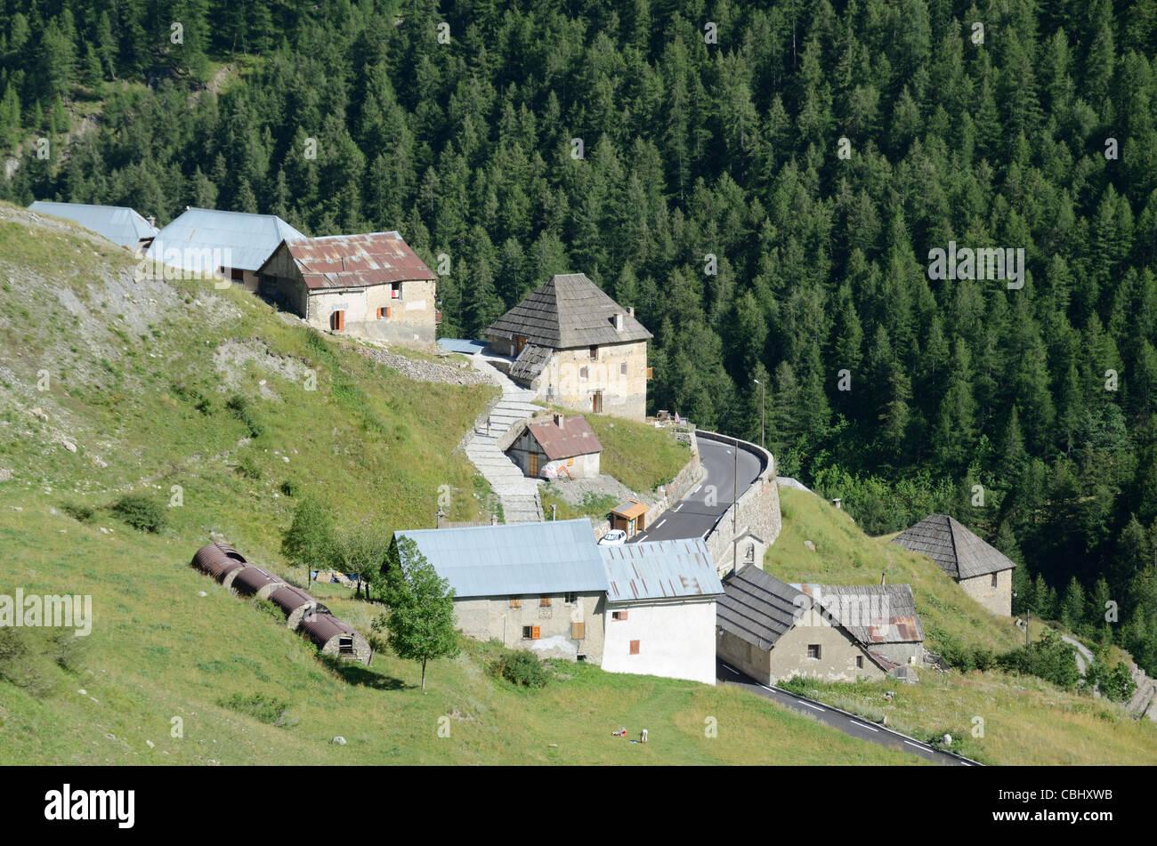 Alpine Village or Hamlet of Bousieyas, on the Southern Side of the Route de la Bonette, Tinée Valley, Alpes - Stock Image