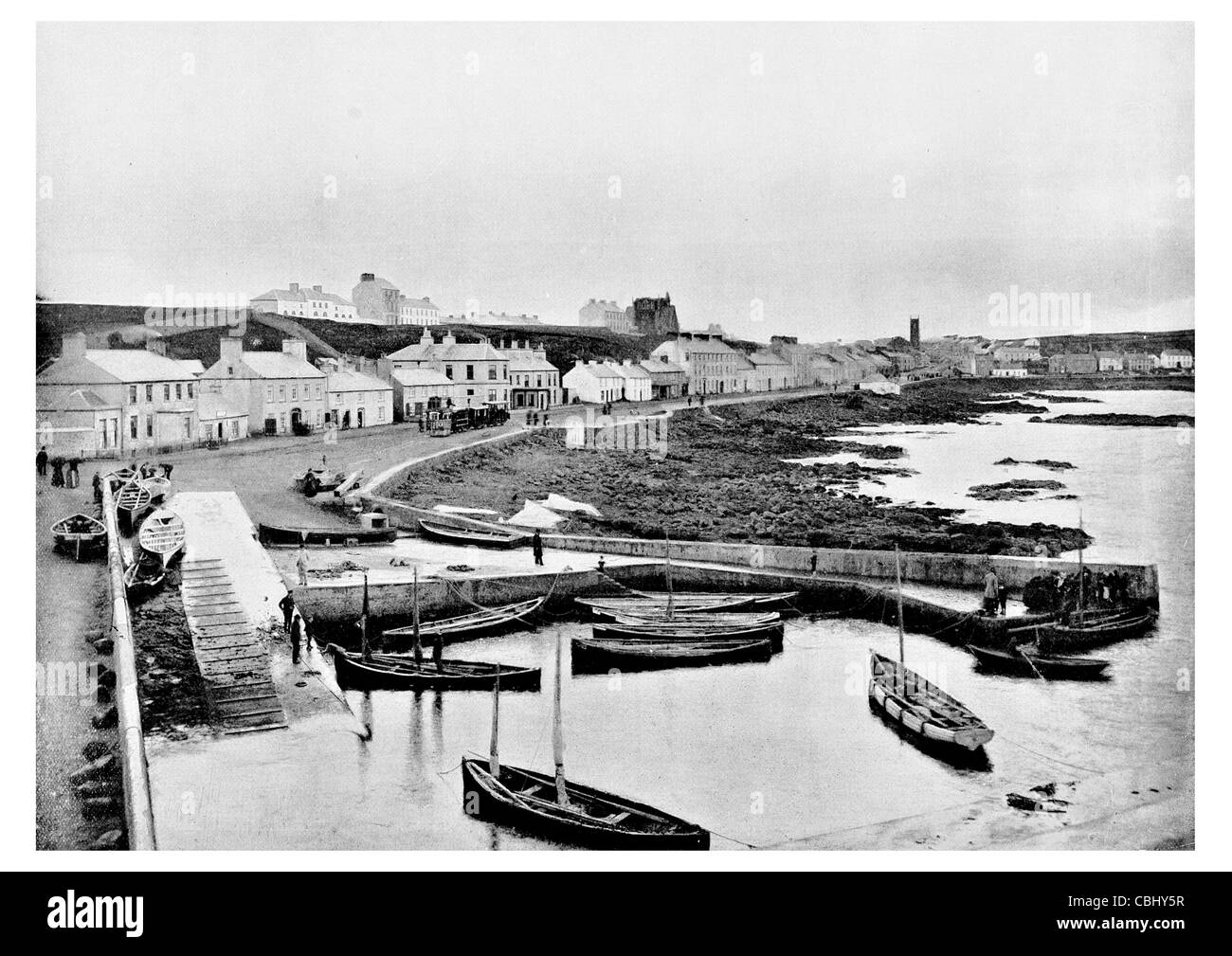Portstewart town County Londonderry Northern Ireland seaside resort Harbour port dock fishing boat fleet Stock Photo