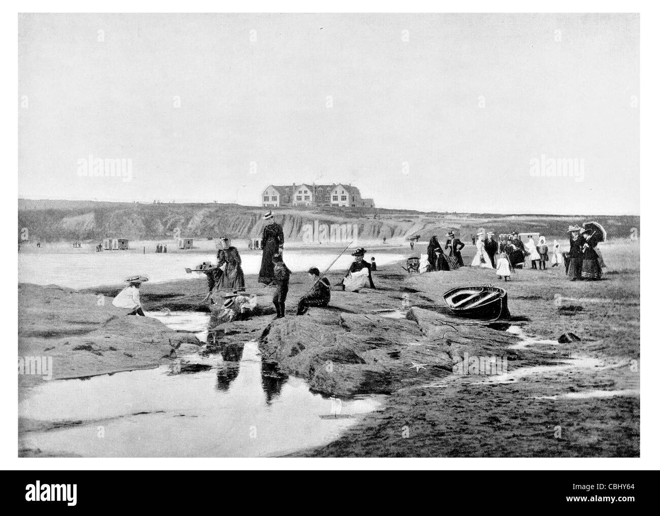 Bundoran County Donegal Ireland seaside resort beach hot summer day bathing costume - Stock Image