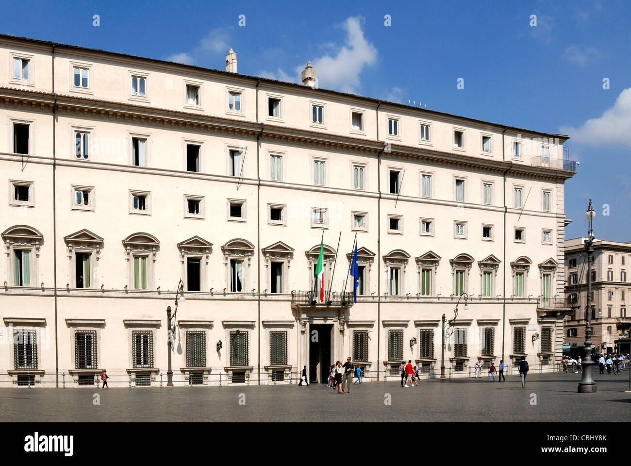 Palazzo Chigi in Rome - Residence of the Italian Prime Minister. - Stock Image