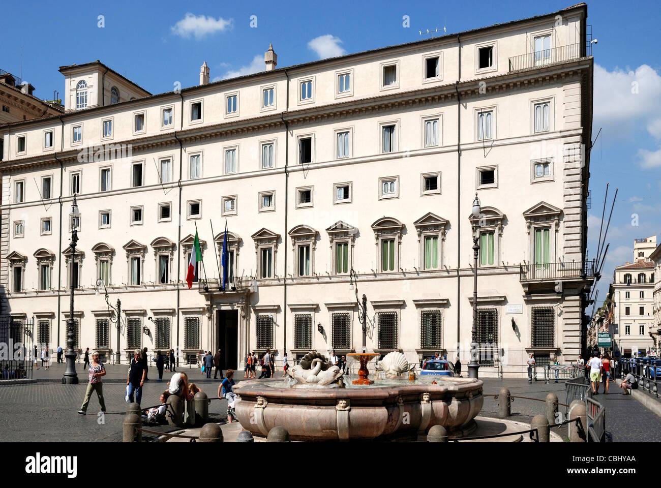 Palazzo Chigi in Rome - Residence of the Italian Prime Minister. - Stock Image