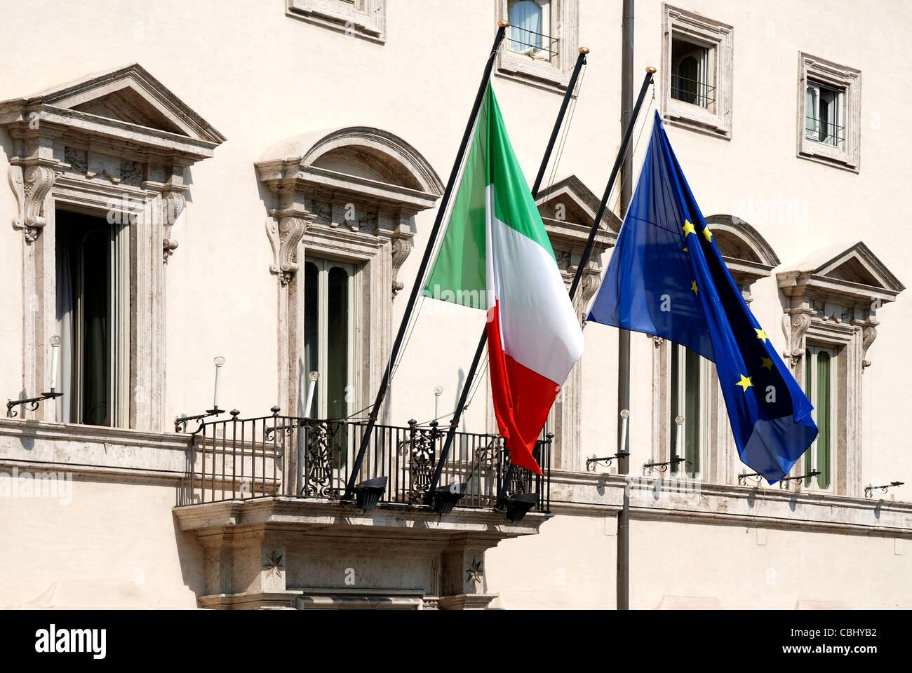 Palazzo Chigi in Rome - Residence of the Italian Prime Minister. Stock Photo
