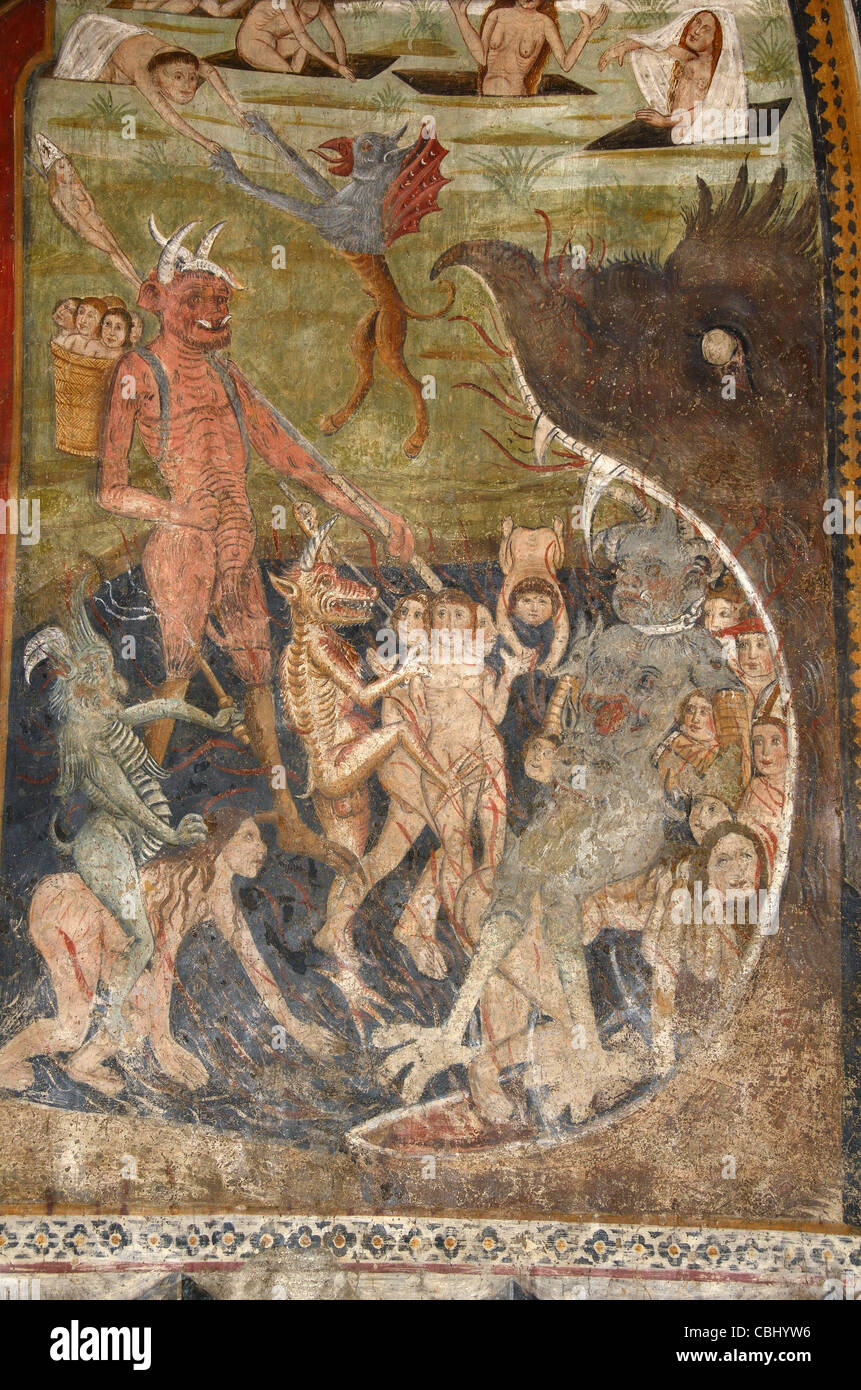 Mouth of Hell Fresco with Devil Kidnapping Children, Chapel of  Penitents Blancs (1492) La Tour-sur-Tinée Alpes - Stock Image