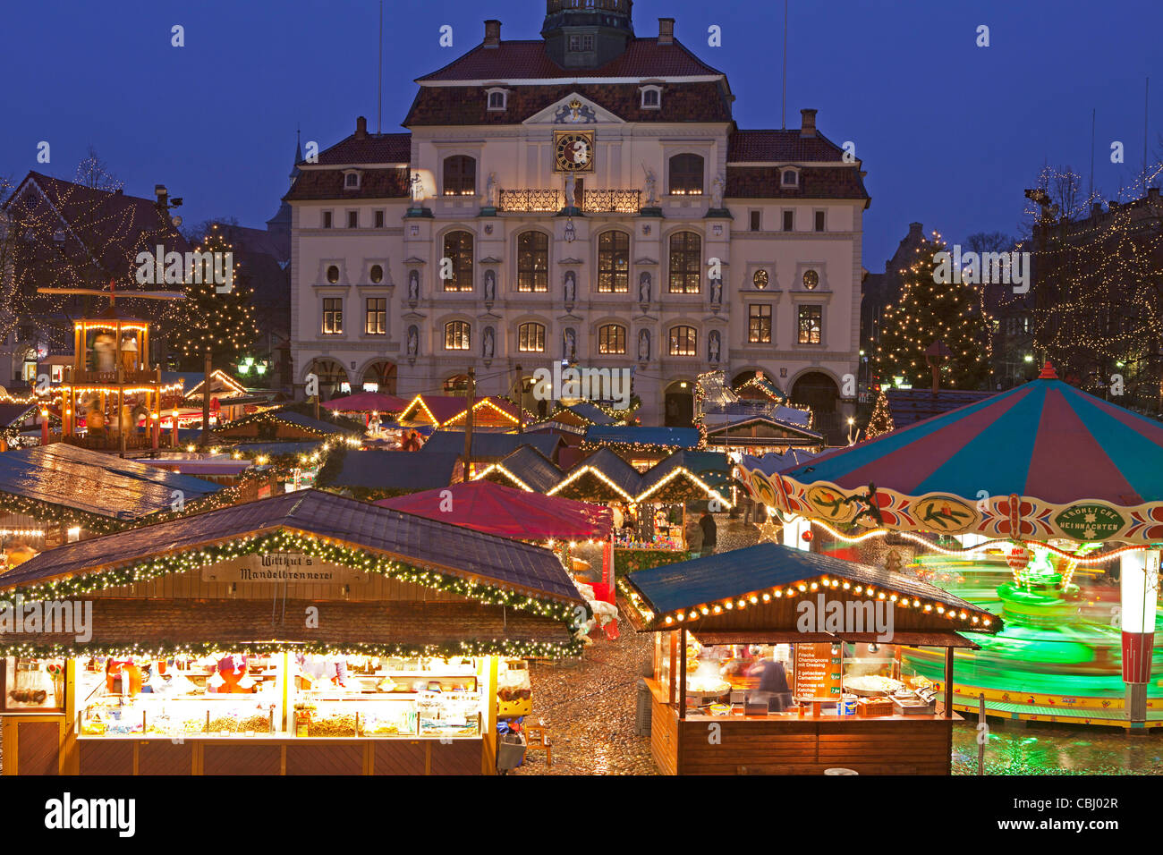 Christmas Market in front of the town hall, Lueneburg, Lower Saxony, Germany Stock Photo