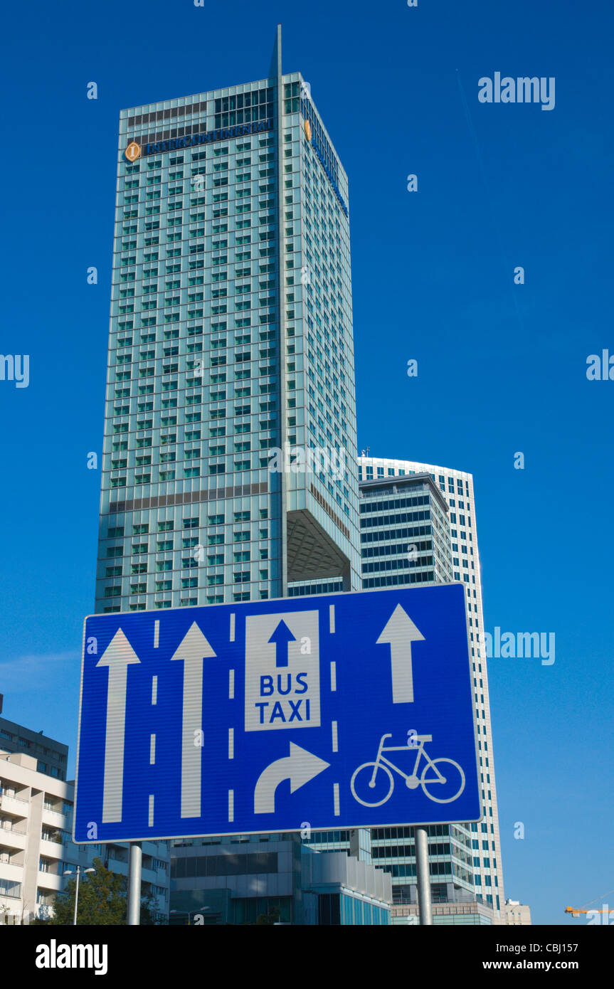 Traffic signs along Emilii Plater street central Warsaw Poland Europe - Stock Image