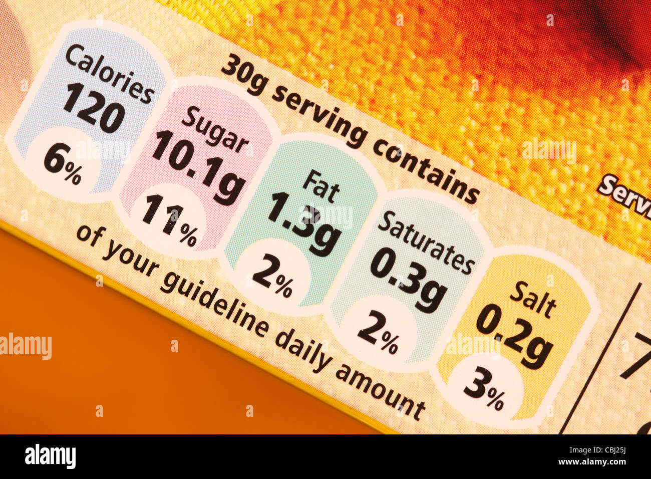 Gda Food Cereal Nutrition Contents Calories Sugar Fat Saturates Salt Stock Photo Alamy