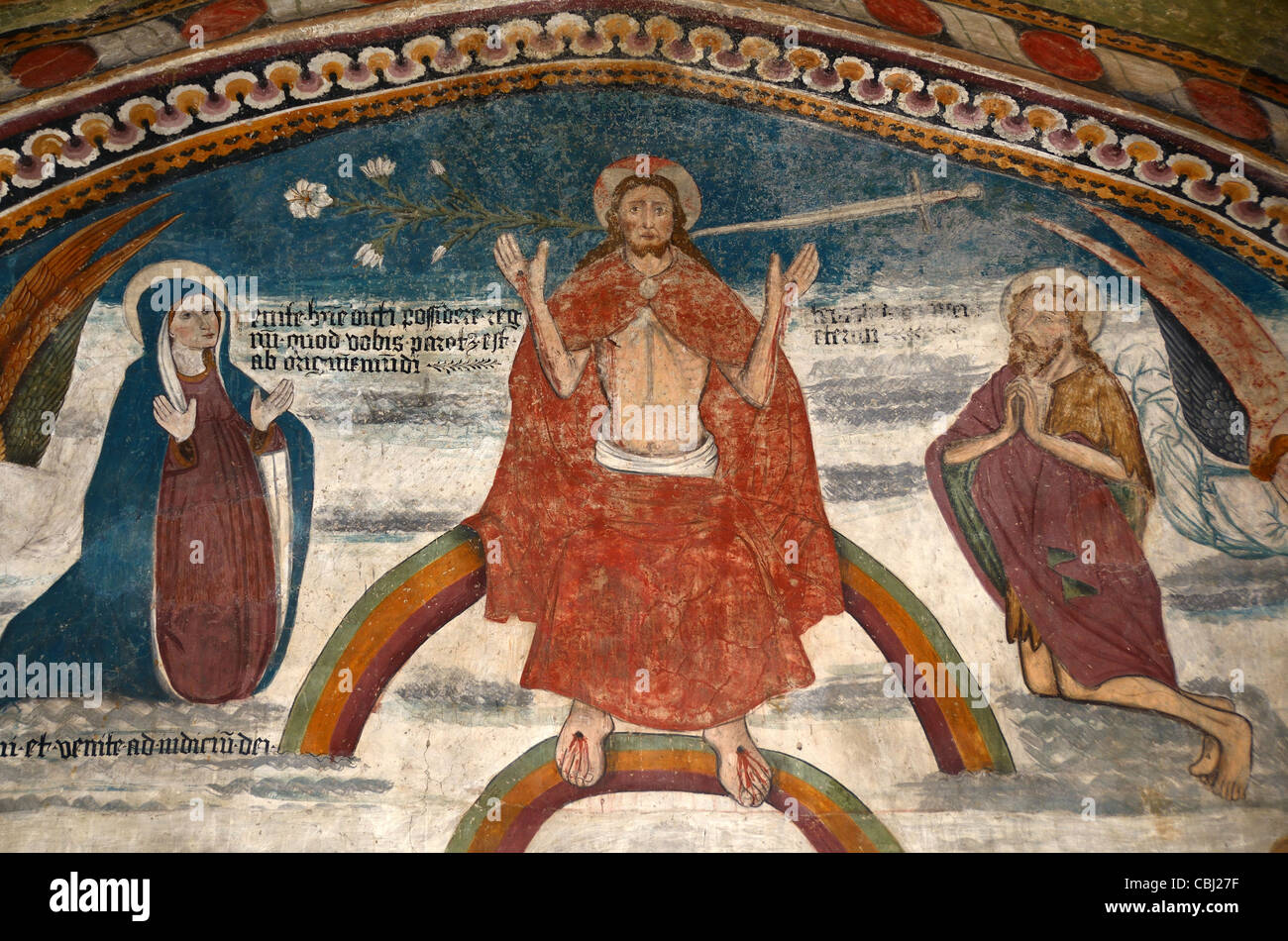 Trinity Fresco, Chapel of the White Penitents, or Chapelle des Penitents Blancs, La Tour, Tinée Valley, Alpes - Stock Image