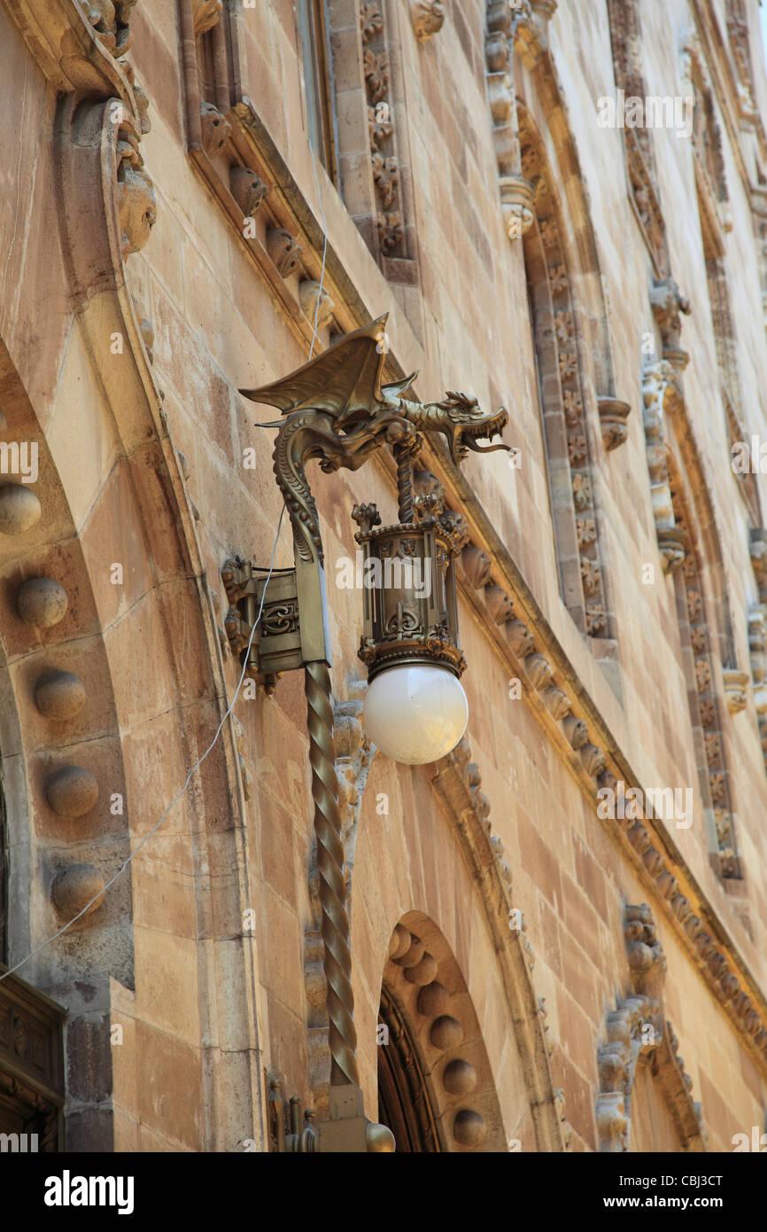 Ornate Lamp, Palacio Postal, Post Office Palace, Historic Center, Mexico City, Mexico Stock Photo