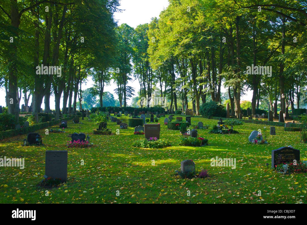 Södra Kyrkogården the graveyard next to the castle Kalmar city Småland southern Sweden Europe - Stock Image