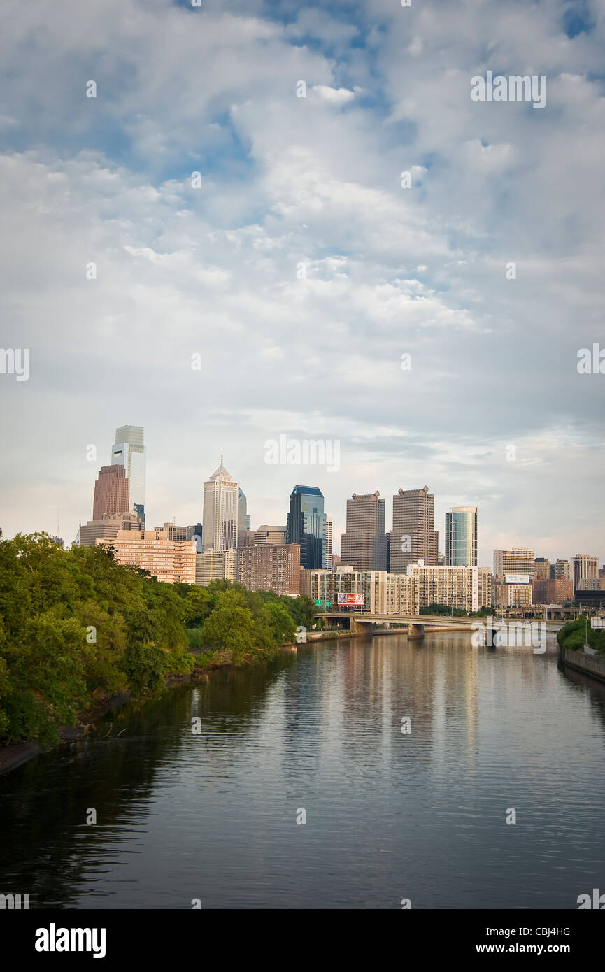 Philadelphia Skyline Cityscape With Schuylkill River - Stock Image
