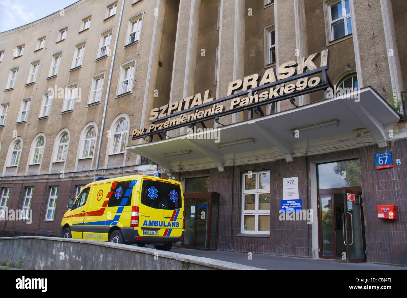 Szpital Praski hospital exterior Praga district Warsaw Poland Europe - Stock Image