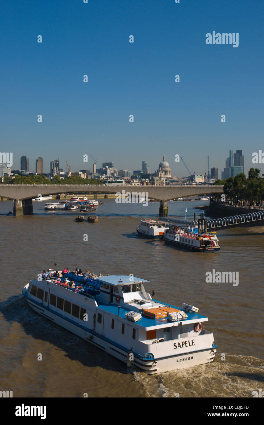 Boat on River Thames central London England UK Europe - Stock Image