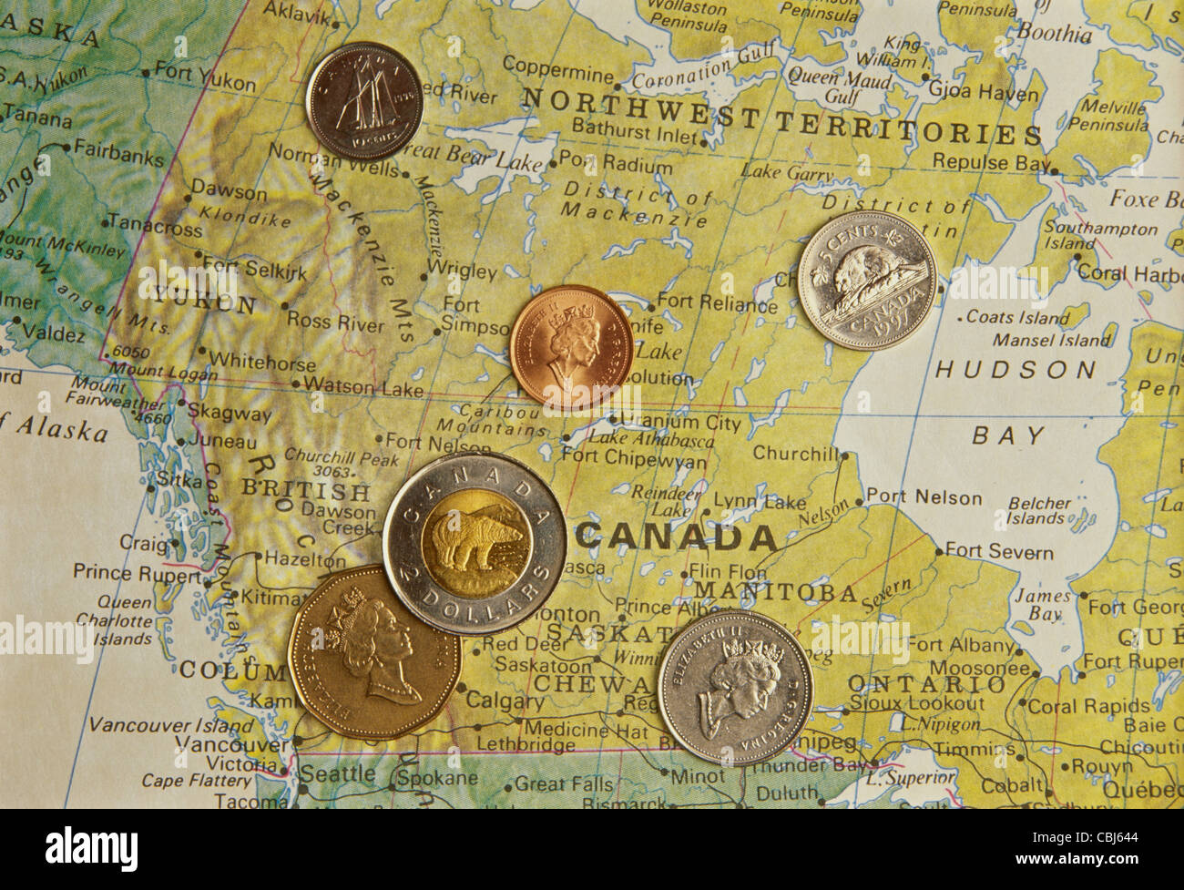 Canadian Coins on National Map of Canada
