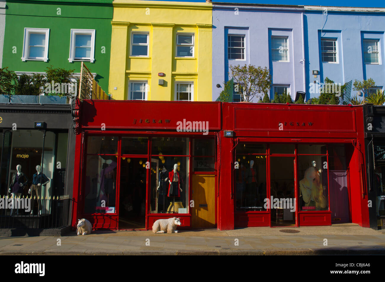 Shops along Westbourne Grove street Notting Hill district London England UK Europe Stock Photo