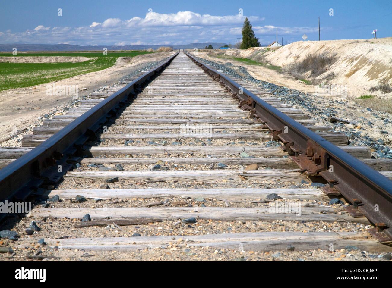 Railroad tracks in Canyon County, Idaho, USA. - Stock Image
