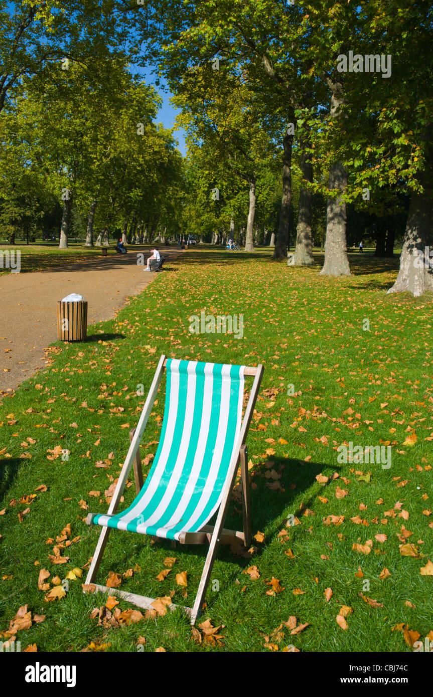 Deck chair Kensington Gardens park west London England UK Europe - Stock Image