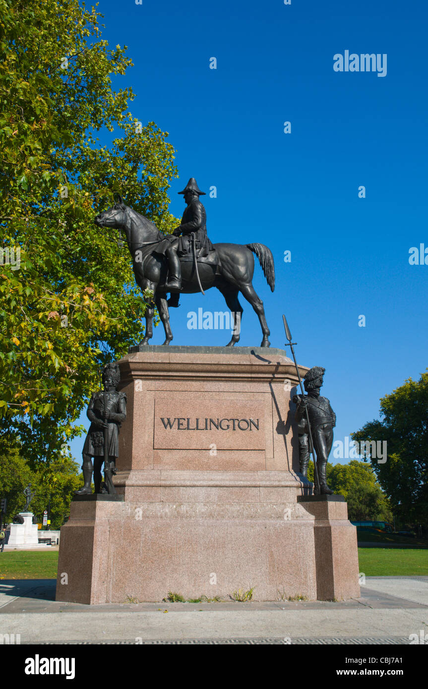 Equestrian statue of Duke of Wellington at Hyde Park Corner central London England UK Europe - Stock Image