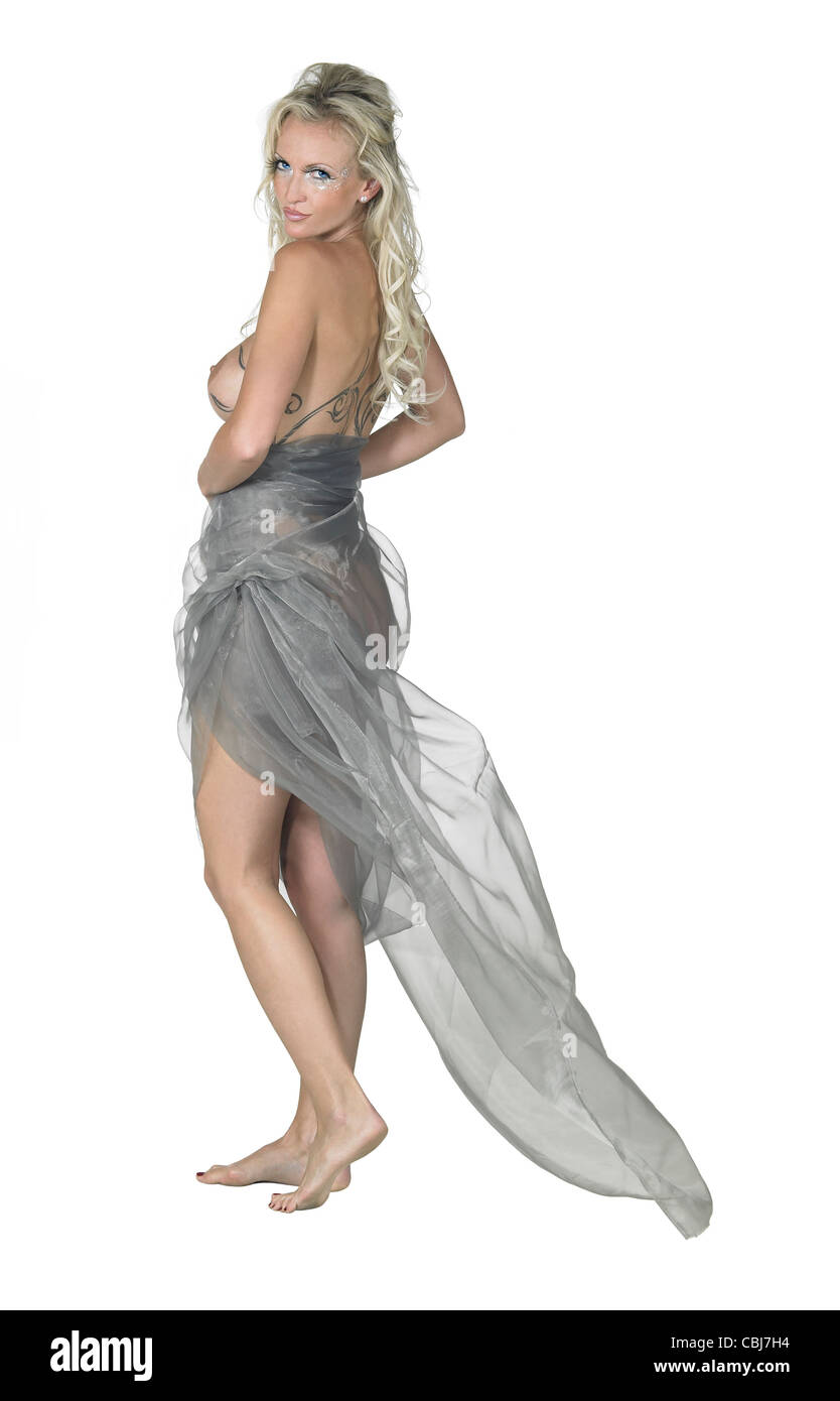 bodypainted blond woman posing in white back - Stock Image