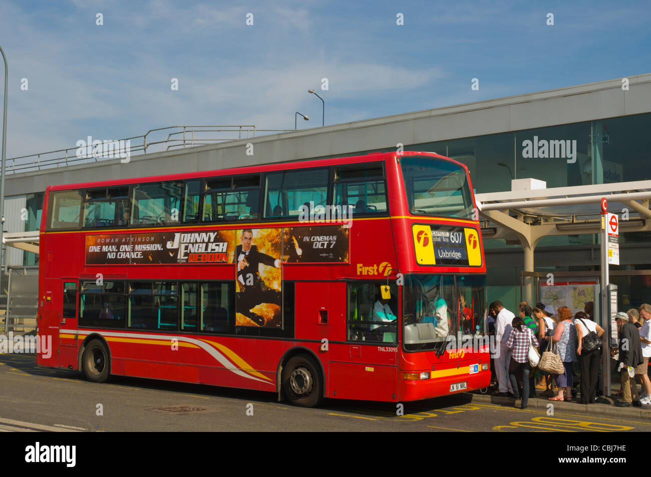 Bus at bus station in Shepherd's Bush district west London England UK Europe - Stock Image