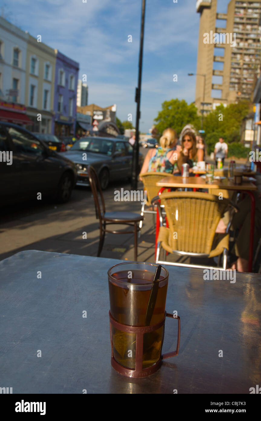 Cup of tea Golborne Road street Notting Hill district London England UK Europe - Stock Image