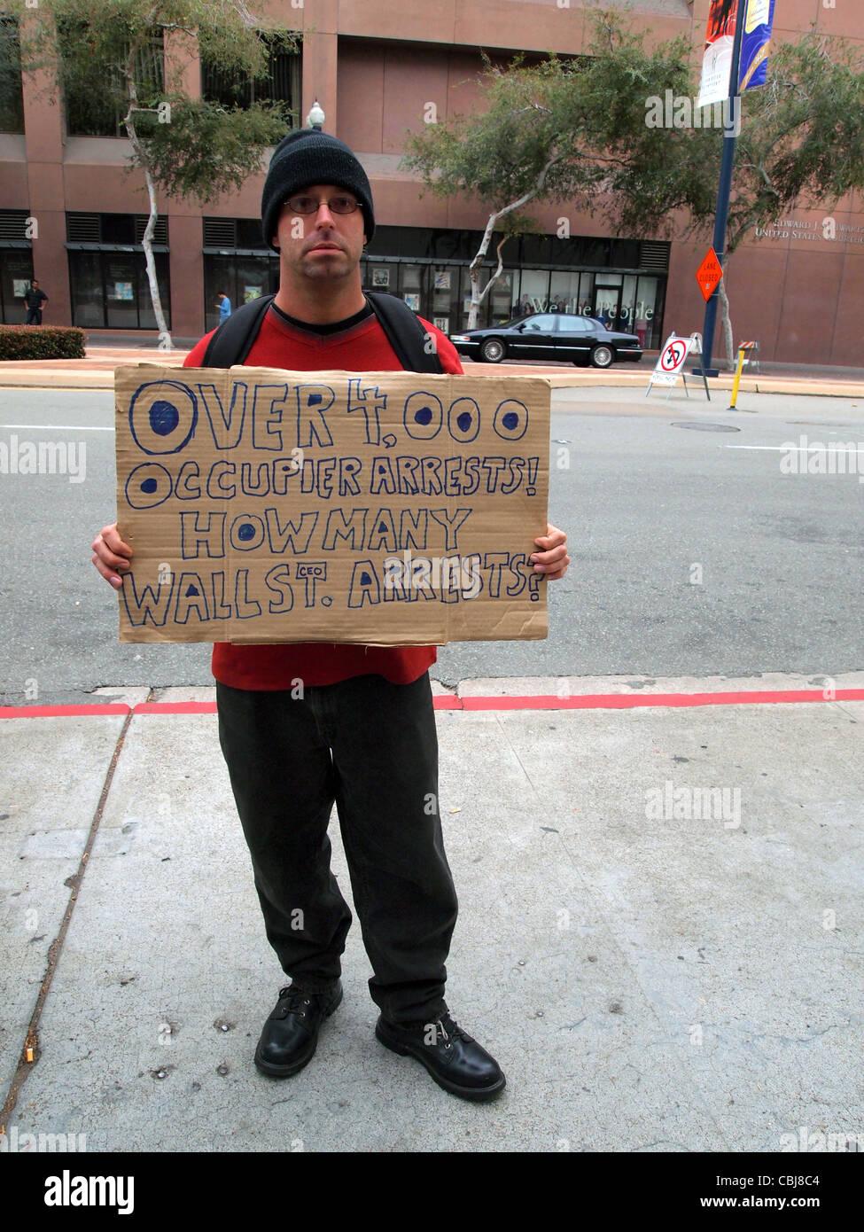 Occupy protestor San Diego California - Stock Image
