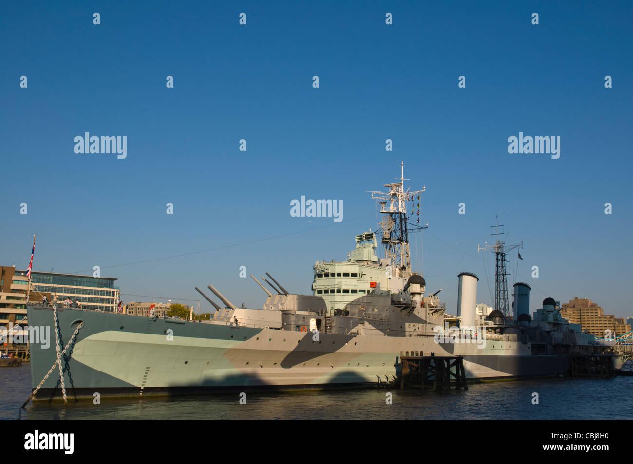 HMS Belfast museum war ship Southwark central London England UK Europe - Stock Image
