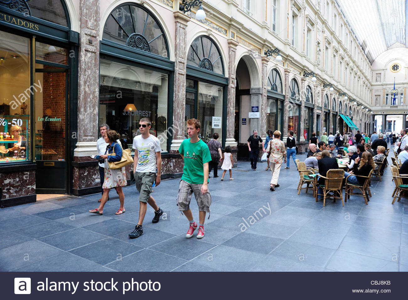 People inside shopping arcade at the city centre, Brussels, Belgium, Europe - Stock Image