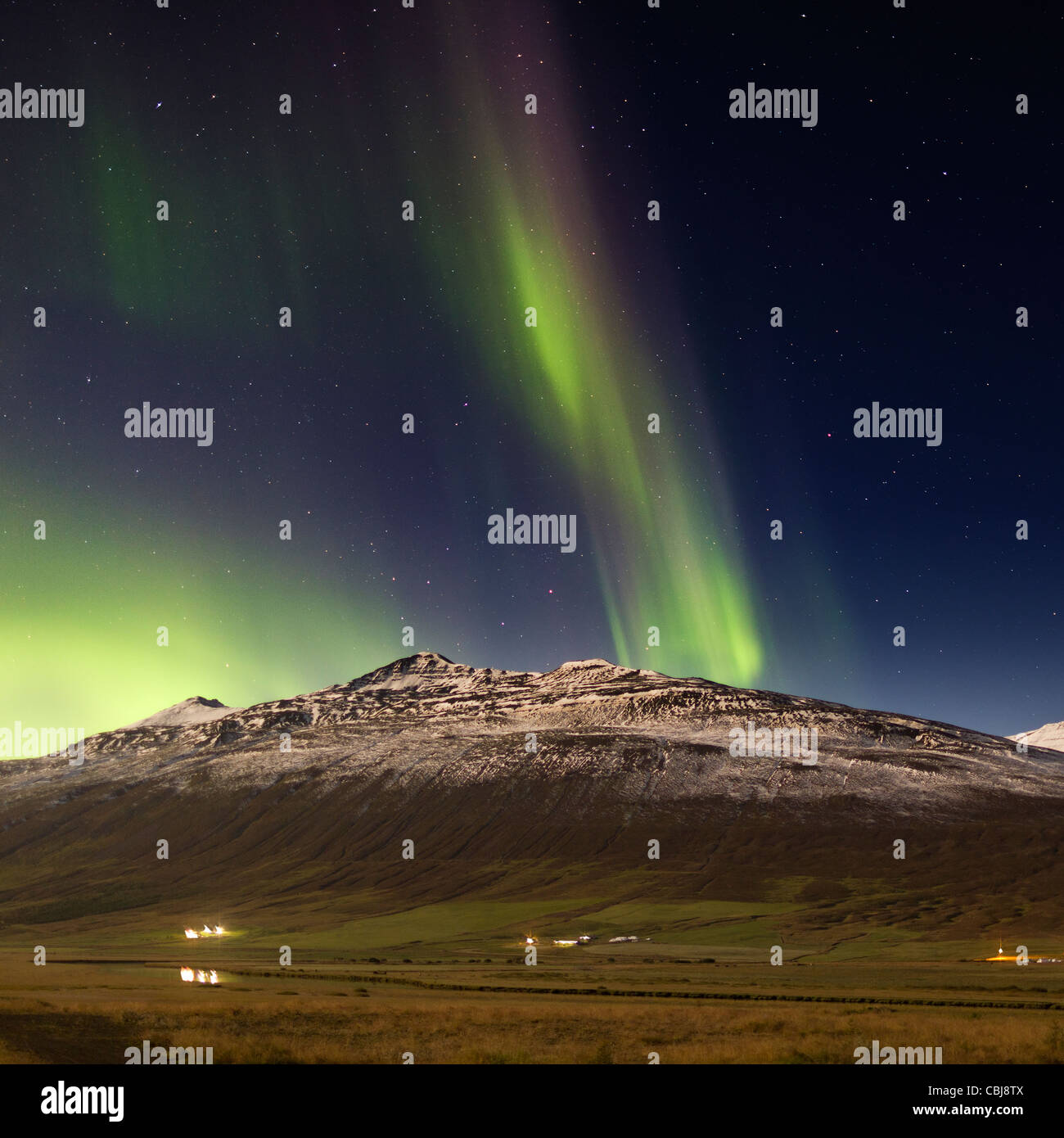Aurora Borealis and mountains, Eyjafjordur, Iceland - Stock Image