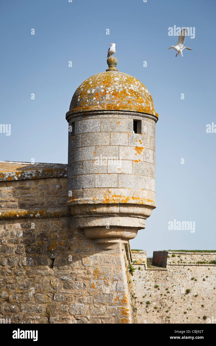 Turret on the citadel at Port Louis, Brittany, France - Stock Image