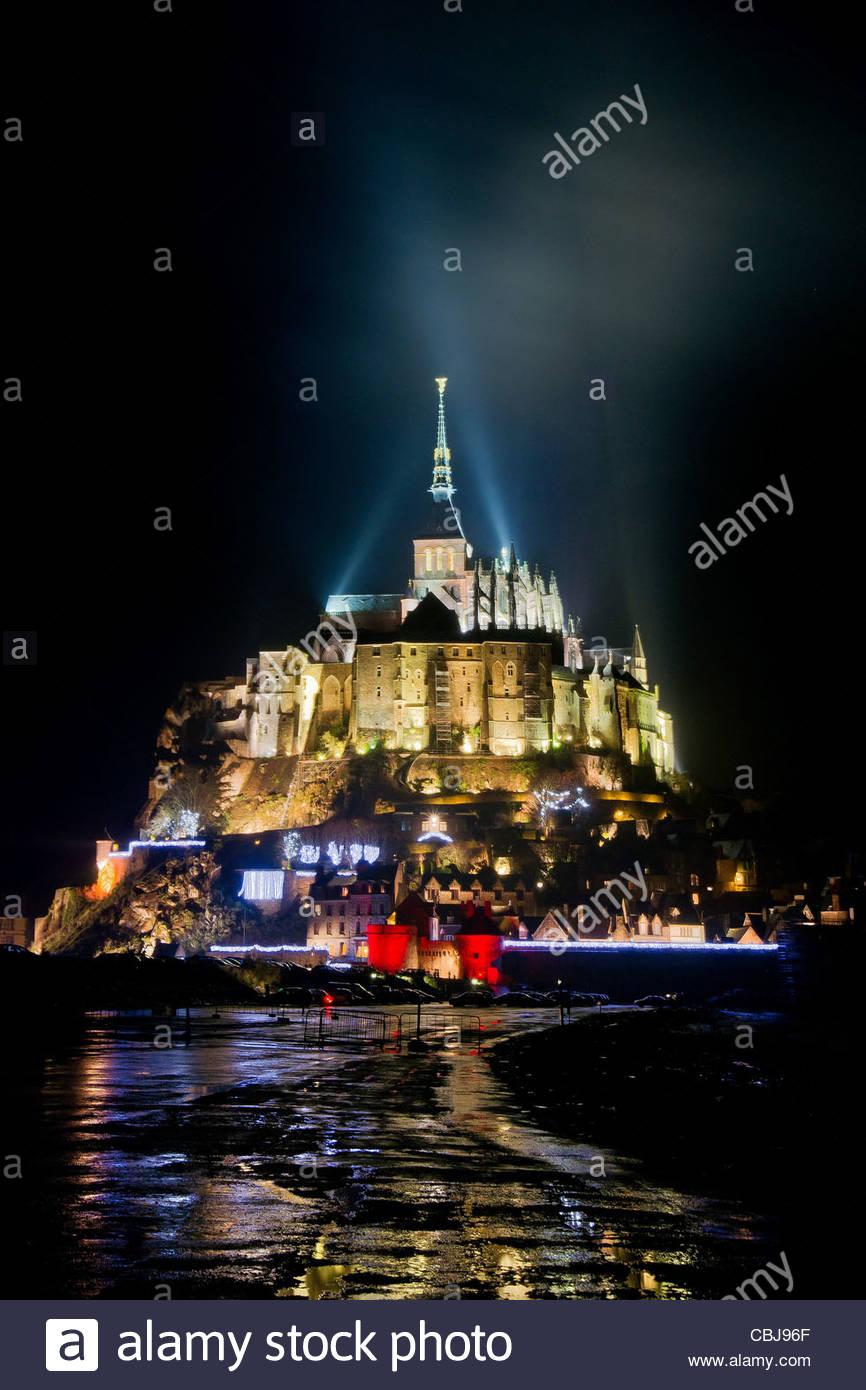 Mont Saint-Michel (Saint Michael's Mount) in Normandy - France - Stock Image