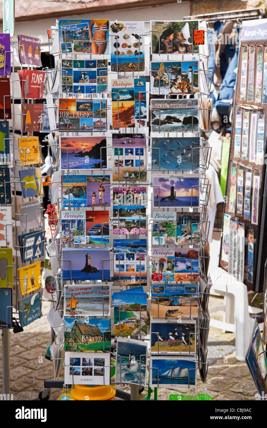 Postcards at a gift shop, Brittany, France - Stock Image