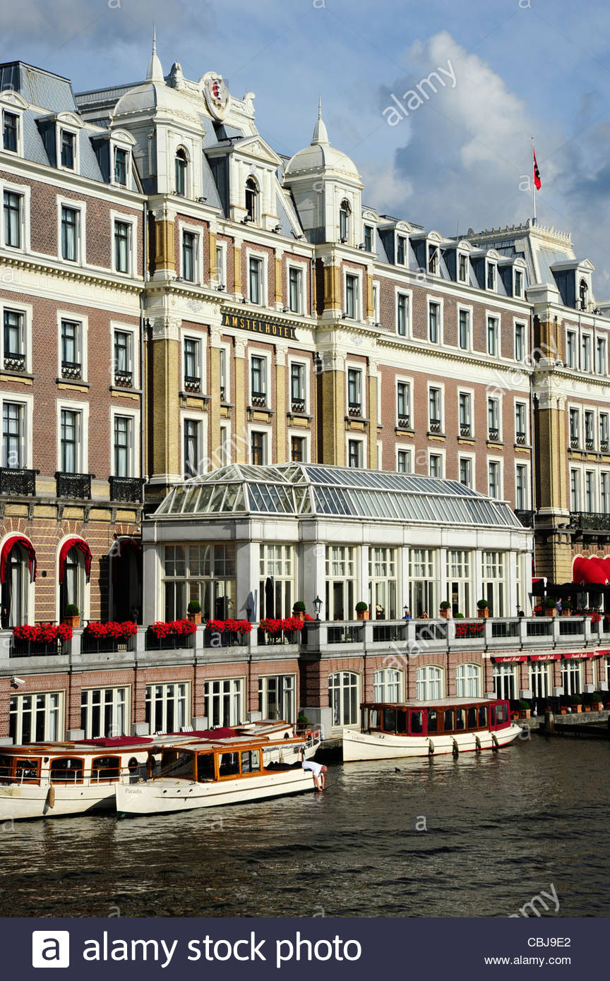 Intercontinental Amstel Hotel along the river, Amsterdam, the Netherlands, Europe - Stock Image