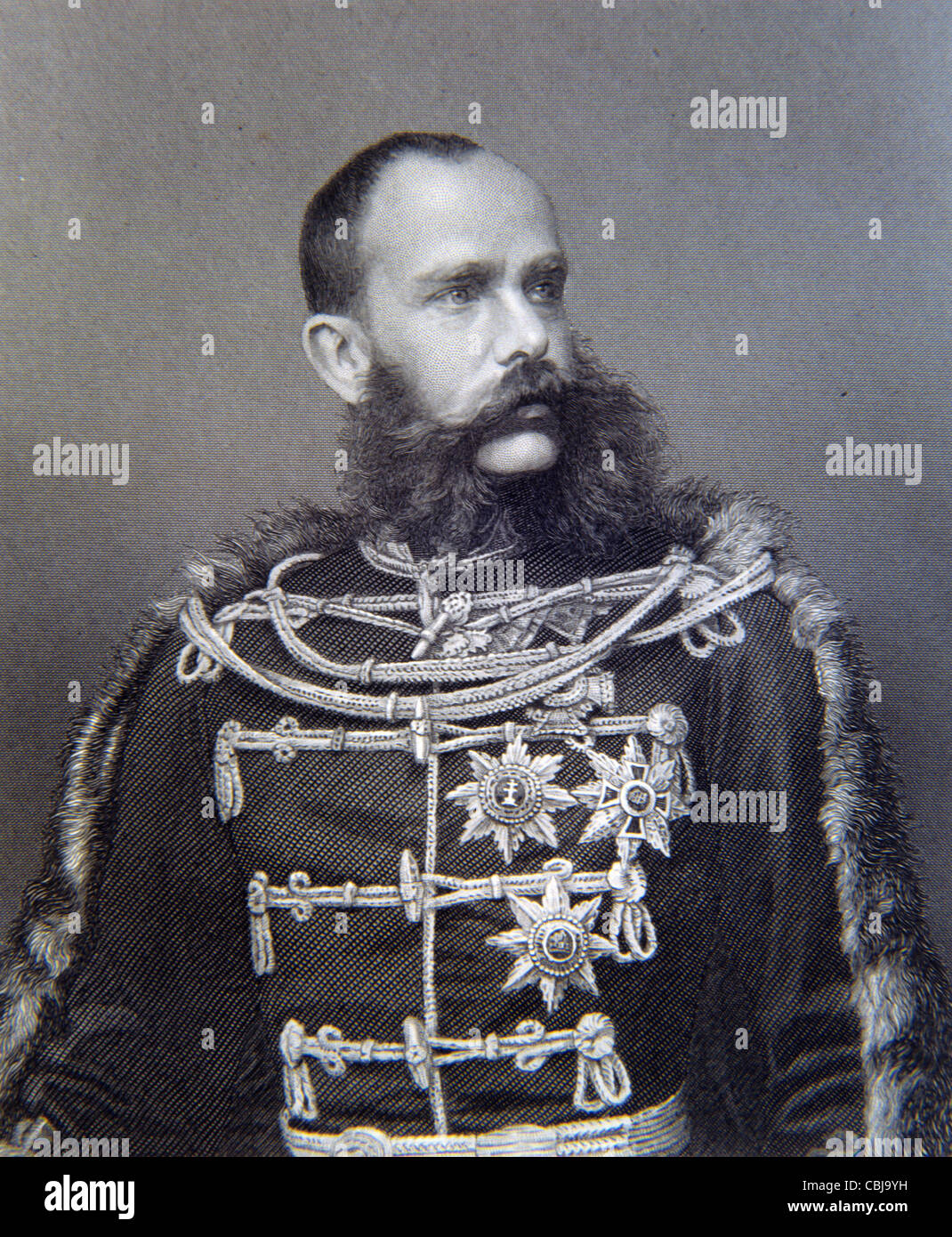 Franz Joseph I or Francis Joseph I, Emperor of Austria (1848-1916) and King of Hungary (1867-1916) Portrait in Military - Stock Image